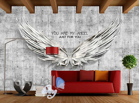 Image of Metal Wings Over Cement Wall With Quote Art Wall Murals Wallpaper Decals Prints Decor IDCWP-JB-000256