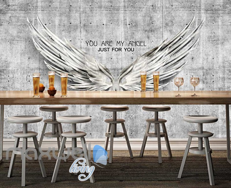 Metal Wings Over Cement Wall With Quote Art Wall Murals Wallpaper Decals Prints Decor IDCWP-JB-000256