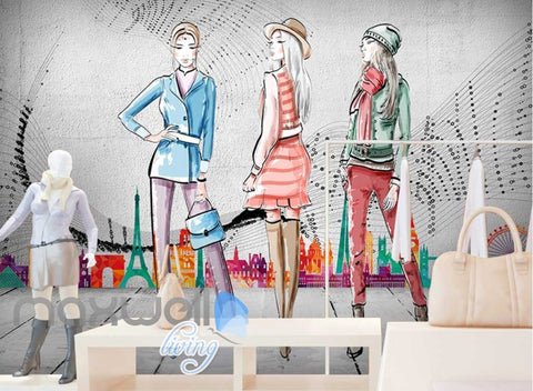 Image of Drawing Of Iconinc Places In Europe With 3 Women Art Wall Murals Wallpaper Decals Prints Decor IDCWP-JB-000265