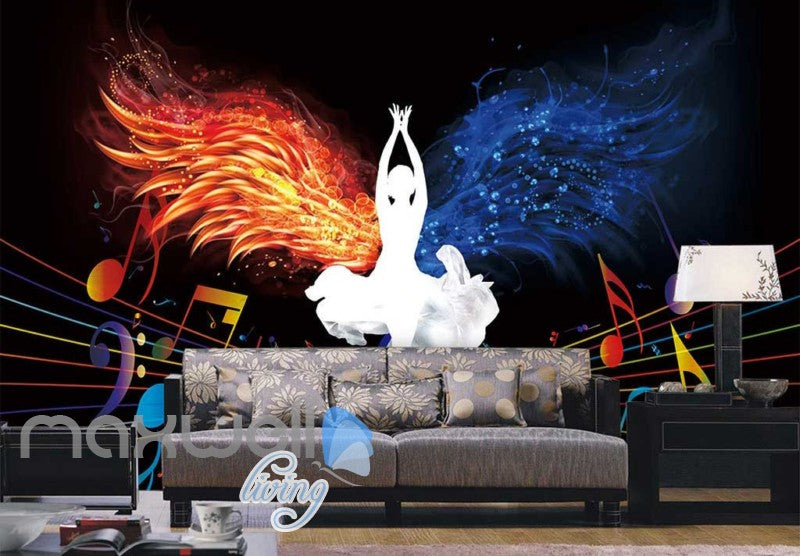 White Silohuette Of Woman Lotus Pose With Fire And Water Wings Art Wall Murals Wallpaper Decals Prints Decor IDCWP-JB-000267