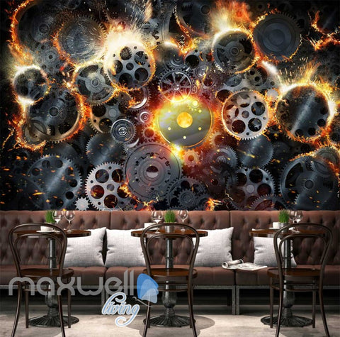 Image of Gear Collage With Fire Art Wall Murals Wallpaper Decals Prints Decor IDCWP-JB-000270