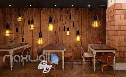 Image of Wooden Wallpaper Graphic Art Design With Lamps Art Wall Murals Wallpaper Decals Prints Decor IDCWP-JB-000272
