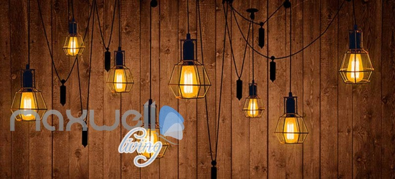 Wooden Wallpaper Graphic Art Design With Lamps Art Wall Murals Wallpaper Decals Prints Decor IDCWP-JB-000272