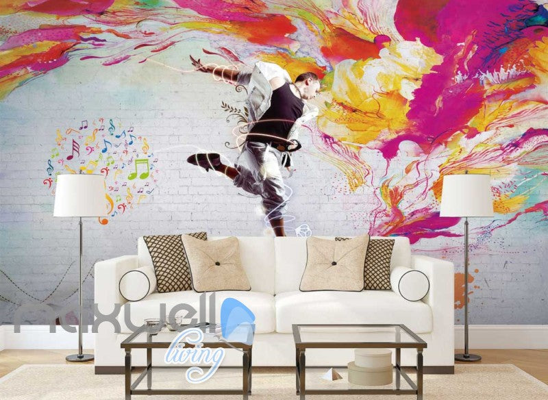 Graphic Art Design Of Man Dancing Art Wall Murals Wallpaper Decals Prints Decor IDCWP-JB-000280