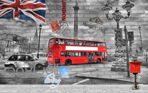 Image of London Poster With Red Bus And Flag Art Wall Murals Wallpaper Decals Prints Decor IDCWP-JB-000281