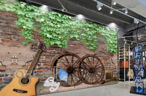 Image of Graphic Art Design Of Old Wall With Guitar And Wooden Wheels Art Wall Murals Wallpaper Decals Prints Decor IDCWP-JB-000282