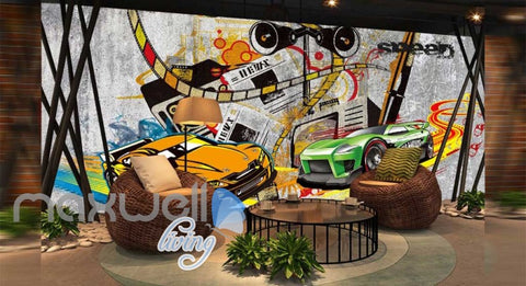 Image of Graphic Art Design Racing Cars  Art Wall Murals Wallpaper Decals Prints Decor IDCWP-JB-000285