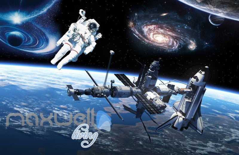 Graphic Art Design Spaceship And Astronaut On Space Art Wall Murals Wallpaper Decals Prints Decor IDCWP-JB-000289