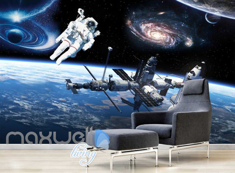 Image of Graphic Art Design Spaceship And Astronaut On Space Art Wall Murals Wallpaper Decals Prints Decor IDCWP-JB-000289