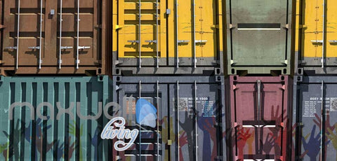 Image of Poster With Shipping Containers And Hands Art Wall Murals Wallpaper Decals Prints Decor IDCWP-JB-000290