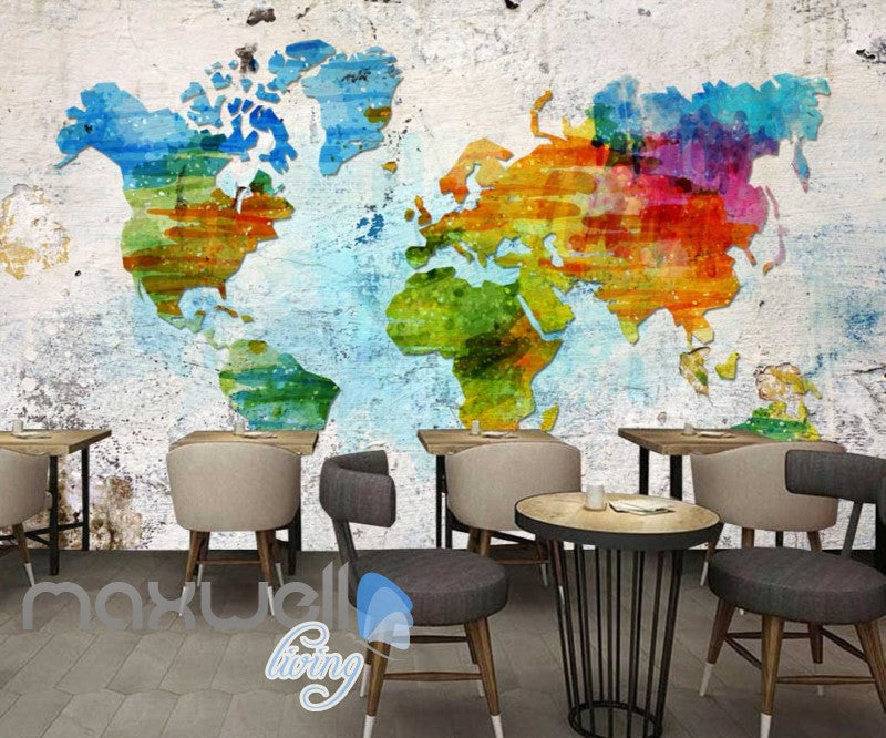 Graphic Art Design Colourful World Map Art Wall Murals Wallpaper