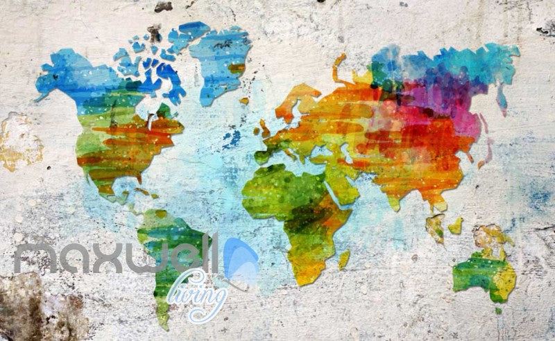 Graphic Art Design Colourful World Map Art Wall Murals Wallpaper - Colorful world map painting