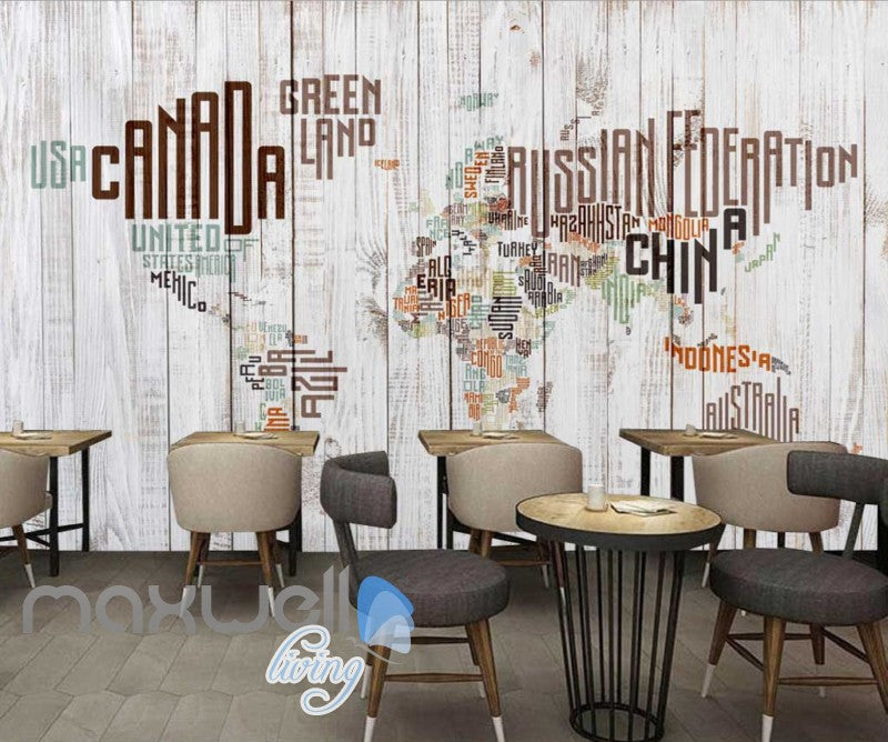 Graphic Art Design World Map Made Of Typographic Country Names Art