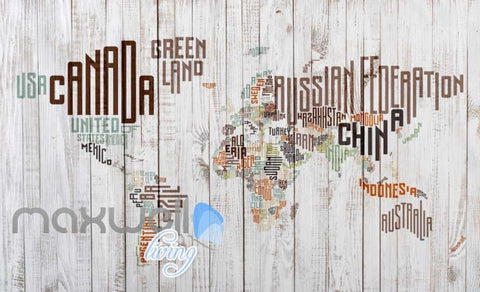 Image of Graphic Art Design World Map Made Of Typographic Country Names Art Wall Murals Wallpaper Decals Prints Decor IDCWP-JB-000301