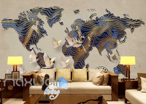 Image of Graphic Art Design World Map Patterns Wall Poster Art Wall Murals Wallpaper Decals Prints Decor IDCWP-JB-000305