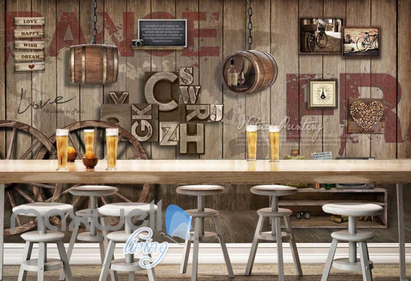 Graphic Art Design Poster Country Style Wooden Wall Art Wall Murals  Wallpaper Decals Prints Decor IDCWP