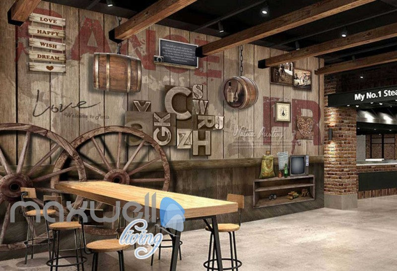 Graphic Art Design Poster Country Style Wooden Wall Art Wall Murals