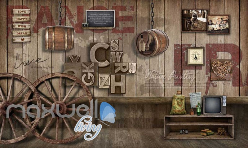 Graphic Art Design Poster Country Style Wooden Wall Art Wall Murals Wallpaper Decals Prints Decor IDCWP-JB-000306