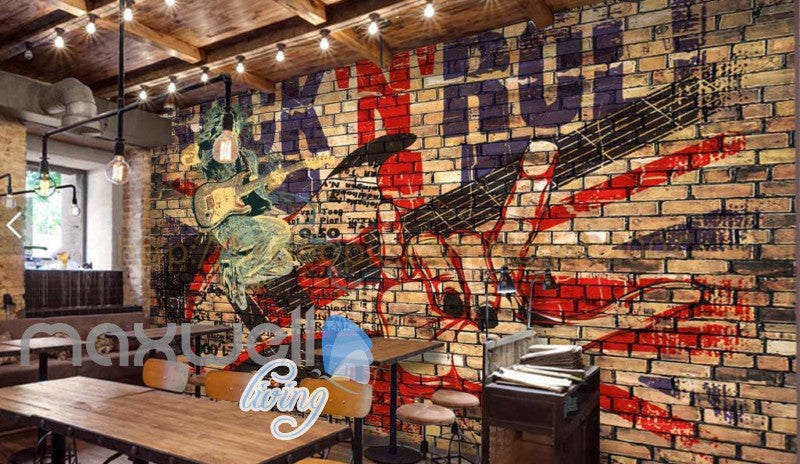 Grunge Poster Of Rock And Roll Brick Wall  Art Wall Murals Wallpaper Decals Prints Decor IDCWP-JB-000312