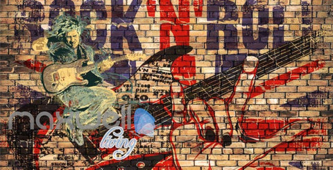 Image of Grunge Poster Of Rock And Roll Brick Wall  Art Wall Murals Wallpaper Decals Prints Decor IDCWP-JB-000312