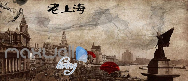 Grunge Poster Of Chinise Town In Sepia Art Wall Murals Wallpaper