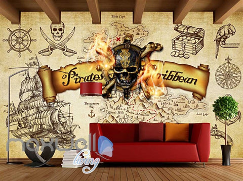 Image of Grunge Poster Pirates Of The Caribbean In Sepia Art Wall Murals Wallpaper Decals Prints Decor IDCWP-JB-000318
