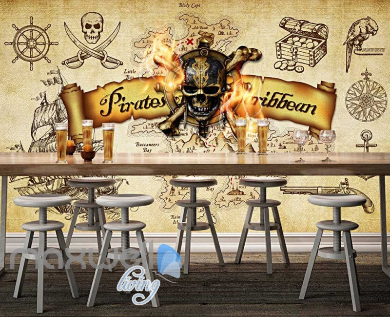 Grunge Poster Pirates Of The Caribbean In Sepia Art Wall Murals Wallpaper Decals Prints Decor IDCWP-JB-000318