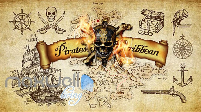 Grunge Poster Pirates Of The Caribbean In Sepia Art Wall Murals ...