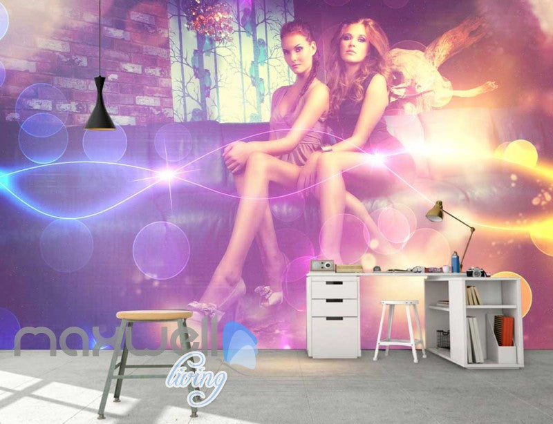Graphic Art Design Woman Posing In A Bar Art Wall Murals Wallpaper Decals Prints Decor IDCWP-JB-000320