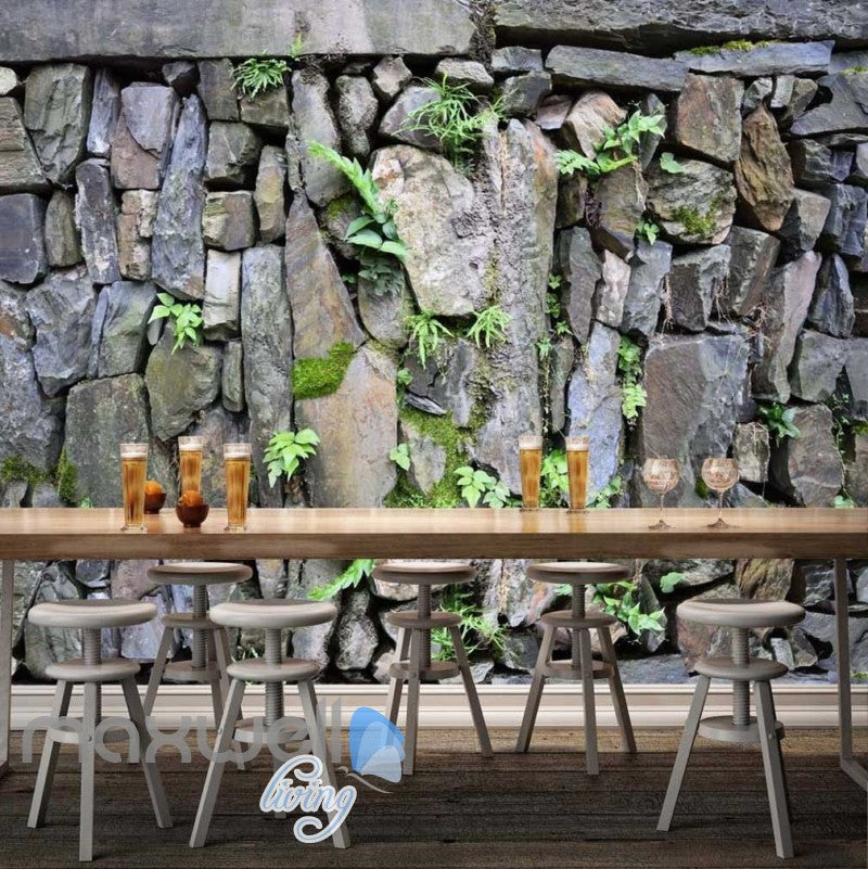 Natural Stone Wall With Plants Wallpaper Art Wall Murals Wallpaper Decals Prints Decor IDCWP-JB-000332