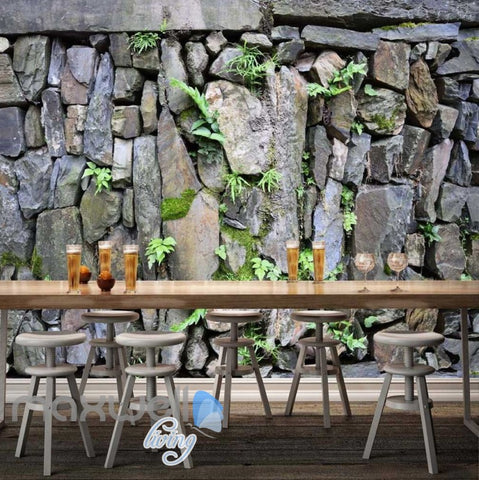 Image of Natural Stone Wall With Plants Wallpaper Art Wall Murals Wallpaper Decals Prints Decor IDCWP-JB-000332