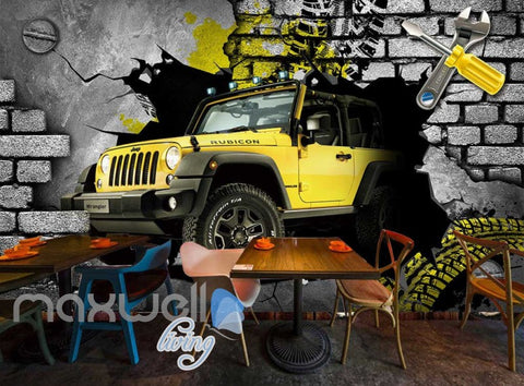 Image of 3D 4X4 Jeep Car Breakthrough Brick Wall Art Wall Murals Wallpaper Decals Prints Decor IDCWP-JB-000333