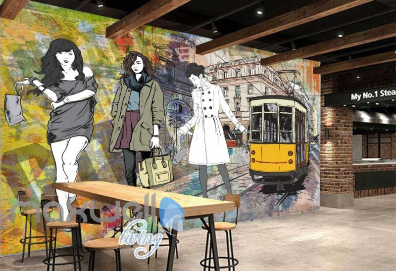 Graphic Design With 3 Fashion Women And Old Tram Art Wall Murals Wallpaper Decals Prints Decor IDCWP-JB-000334