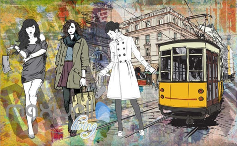 Image of Graphic Design With 3 Fashion Women And Old Tram Art Wall Murals Wallpaper Decals Prints Decor IDCWP-JB-000334
