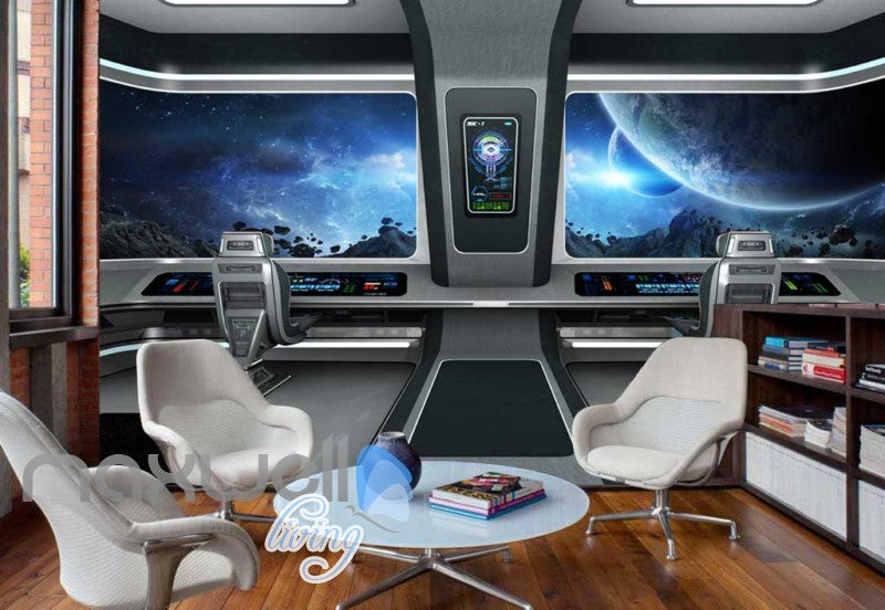 View Space From A Spaceship Art Wall Murals Wallpaper