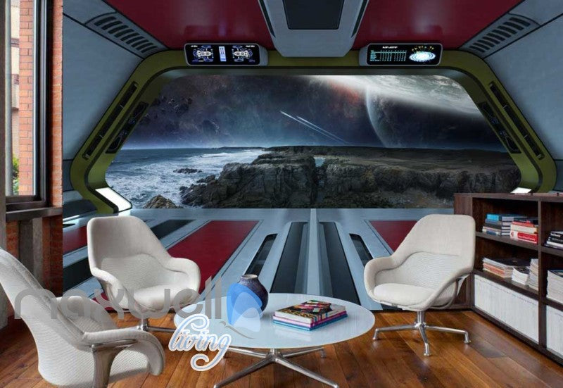 View Space And Earth From A Spaceship Art Wall Murals Wallpaper Decals Prints Decor IDCWP-JB-000337