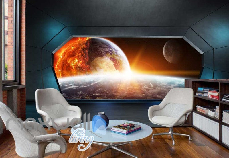 View Space And Earth From A Spaceship Art Wall Murals Wallpaper Decals Prints Decor IDCWP-JB-000338