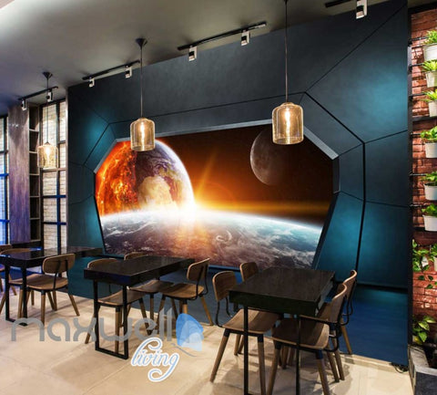 Image of View Space And Earth From A Spaceship Art Wall Murals Wallpaper Decals Prints Decor IDCWP-JB-000338