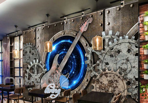 Image of Grunge Poster With Rusted Gear And Guitar Art Wall Murals Wallpaper Decals Prints Decor IDCWP-JB-000344
