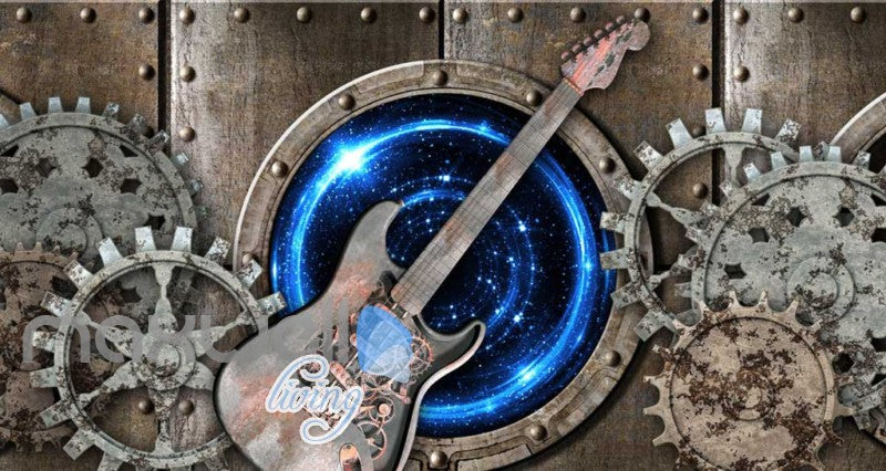 Grunge Poster With Rusted Gear And Guitar Art Wall Murals Wallpaper Decals Prints Decor IDCWP-JB-000344