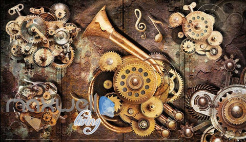Image of Grunge Poster With Gears And Old Trumpet Art Wall Murals Wallpaper Decals Prints Decor IDCWP-JB-000350