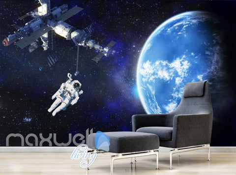 Image of Graphic Art Design Spaceship And Astronaut On Space Art Wall Murals Wallpaper Decals Prints Decor IDCWP-JB-000351