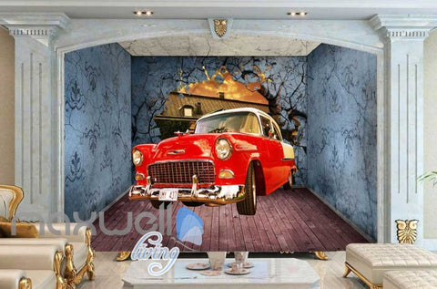 Image of 3D Old Car Breaking Through Room Wall Art Wall Murals Wallpaper Decals Prints Decor IDCWP-JB-000352