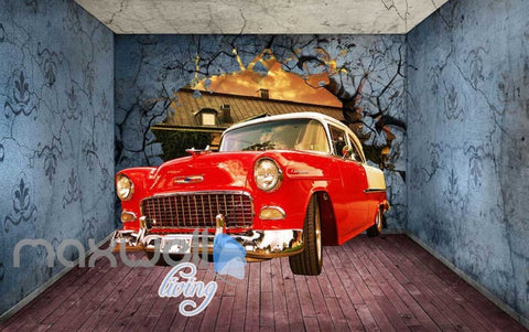 3D Old Car Breaking Through Room Wall Art Wall Murals Wallpaper Decals  Prints Decor IDCWP-JB-000352