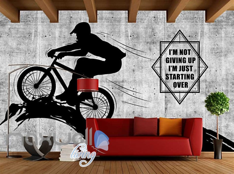 White And Black Poster Of Silhouette Man Riding A Bike Art Wall Murals Wallpaper Decals Prints Decor IDCWP-JB-000355