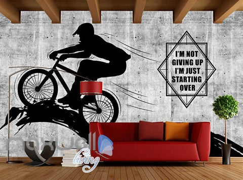Image of White And Black Poster Of Silhouette Man Riding A Bike Art Wall Murals Wallpaper Decals Prints Decor IDCWP-JB-000355
