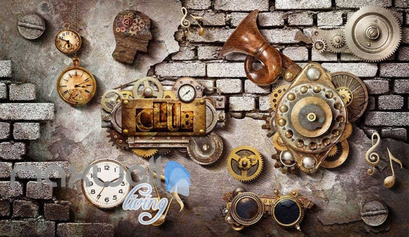 Grunge Poster With Gears Old Clocks And Trumpet In Brick Wall Art Wall Murals Wallpaper Decals Prints Decor IDCWP-JB-000356