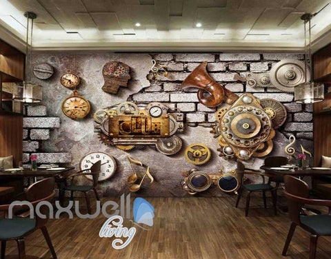 Image of Grunge Poster With Gears Old Clocks And Trumpet In Brick Wall Art Wall Murals Wallpaper Decals Prints Decor IDCWP-JB-000356