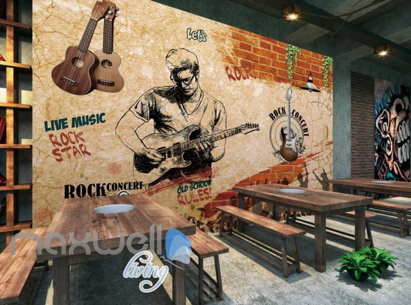 grunge sepia poster rock guy playing guitar art wall muralstap to expand
