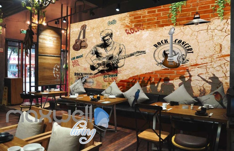 Grunge Sepia Poster Rock Guy Playing Guitar Art Wall Murals Wallpaper Decals Prints Decor IDCWP-JB-000368